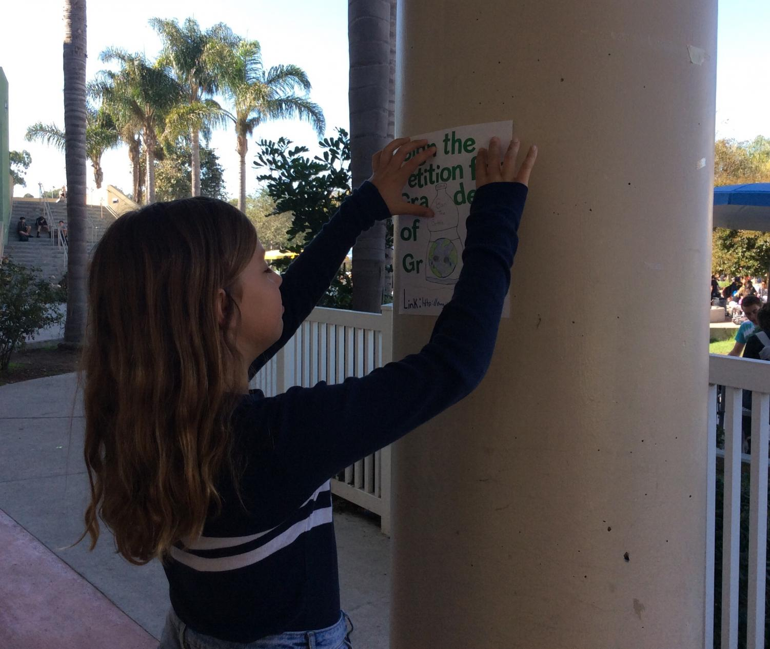 Eco-leader Sienna Agen places a campaign poster on a pole at MBMS.